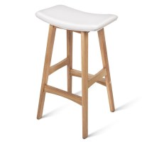 2x White PU Leather Bar Stools with Oak Wood Legs