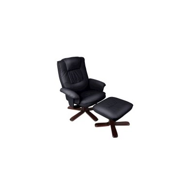 PU Leather Swivel Recliner Arm Chair with Ottoman