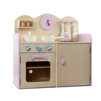 7 Piece Wooden Kids Toy Kitchen Play Set