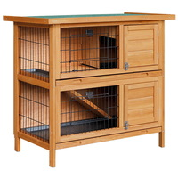 Double Storey Rabbit Hutch Cage with Foldable Ramp