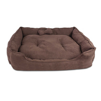 Extra Large Faux Suede Washable Dog Bed in Brown