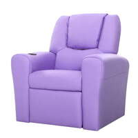 Kids PU Leather Recliner Chair W Cup Holder Purple
