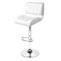 2x PU Leather Thick Grid Bar Stools Chrome White
