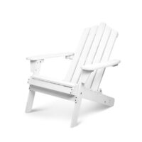 Adirondack Foldable Outdoor Deck Chair in White