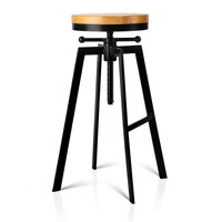 Vintage Industrial Bar Stool with Adjustable Height