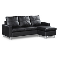 Three Seater PU Leather Sofa with Ottoman in Black