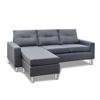 Four Seater Faux Linen Fabric Sofa w/ Ottoman Grey
