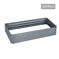 Galvanised Raised Garden Bed in Grey 150x90x30cm