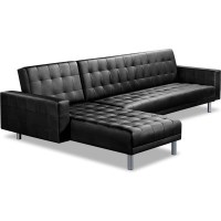 Modular 5 Seat PU Leather Sofa Bed w Chaise Black