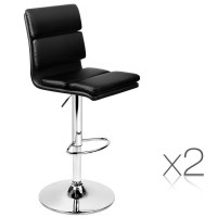 2x Padded PU Leather Gas Lift Bar Stools in Black