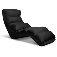 75 Degree Adjustable Floor Chair Lounge in Black