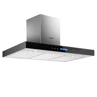 Wall Mounted Rangehood w Black Tempered Glass 900mm