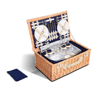 4 Person Picnic Basket w/ Cooler Bag Blanket - Navy