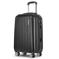 Hard Shell Travel Luggage Suitcase w 4 Wheels Black