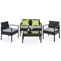 4 Piece Wicker Patio Outdoor Lounge Set in Black