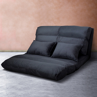 Adjustable Linen Fabric Floor Lounge Sofa Charcoal