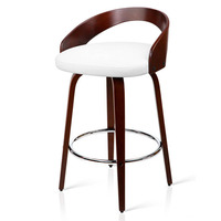 2x Cherry Wood Rail Bar Stools w/ Chrome Footrests