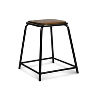 4x Retro Stackable Wooden Seat Bar Stools 48.5cm