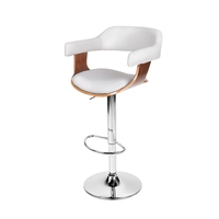 Faux Leather Cupped Gas Lift Bar Stool in White