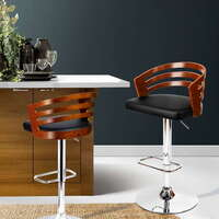 Faux Leather Cupped Gas Lift Bar Stool in Black