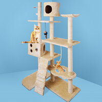 Multi-Level Cat Scratching Tree Post in Beige 170cm