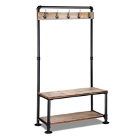Pipe Shoe Rack & Coat Hanger Hallway Entry Bench