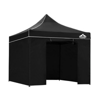 Instahut Pop Up Gazebo Hut w/ Sandbags 3x3m - Black