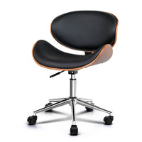 Curved Wooden Faux Leather Office Chair Black 86cm