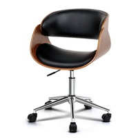 Cupped Wooden PU Leather Office Chair in Black 84cm