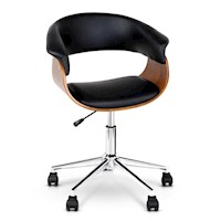 Cupped Wooden Office Chair w/ PU Leather Armrests
