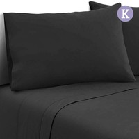 4pc King Size Soft Microfibre Sheet Set in Black