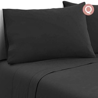 4pc Queen Size Soft Microfibre Sheet Set in Black
