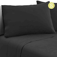 3pc Single Size Soft Microfibre Sheet Set in Black