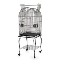 Aviary Bird Cage w/ Open Roof & Wheels 150cm Black