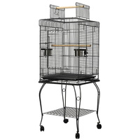 Aviary Bird Cage w/ Open Roof & Wheels 145cm Black