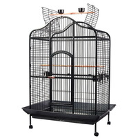 Aviary Bird Cage w/ Open Roof & Wheels 160cm Black
