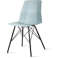 2x Eames Inspired Contoured Dining Chair Blue