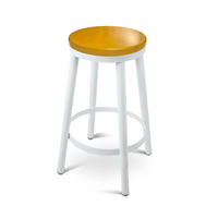 2x Wooden Stackable Round Seat Bar Stools in White