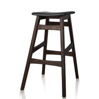 2x Modern Angled Leg Rubberwood Bar Stools in Black