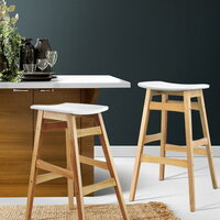 2x Modern Angled Leg Rubberwood Bar Stools in White