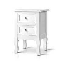 Vintage Style MDF 2 Drawer Bedside Table in White