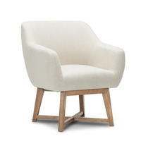 Polyester Fabric Tub Lounge Armchair in Beige