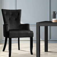 Polyester French Provincial Dining Chair in Black