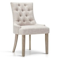 Polyester French Provincial Dining Chair in Beige