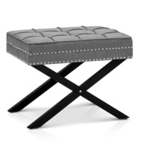 Tufted Polyester & Linen Bench Stool Ottoman Grey