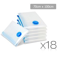 18pc Vacuum Storage Bags w Seal Zip Slider 70x100cm
