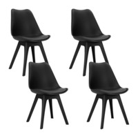 4x Eames Inspired DSW PU Leather Chairs in Black