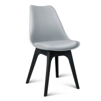 4x Eames Inspired DSW PU Leather Chairs in Grey