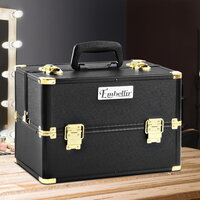 Makeup and Cosmetics Beauty Case in Black and Gold