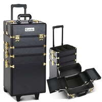 7pc Makeup & Cosmetics Beauty Case in Black & Gold